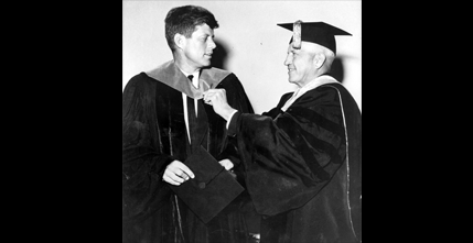 Senator John F. Kennedy receives honorary Doctor of Laws hood, June 6, 1956.
