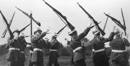 Pershing Rifles drill at the Military Ball, 1964.