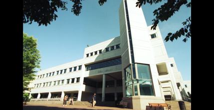 Snell Library, opened in 1990, as seen from the library quadrangle, 1999.