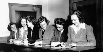 First women students in the Day Colleges register for classes, 1943.