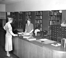 Dodge Library's Circulation Desk, 1950.